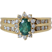 Vintage 14k Gold Emerald & Diamond Ladies Ring sz 5.75
