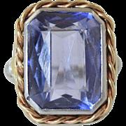Vintage 1920s/30s 10K Synthetic Alexandrite White & Yellow Gold Filigree Ladies Ring sz 3.5