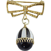 Russian Silver Gilt Enamel & Black Onyx Egg Pendant Charm w/Bow Pin Vermeil