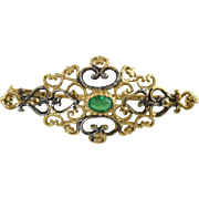 Russian Sterling Gilt 925 Filigree Pin w/Green Stone