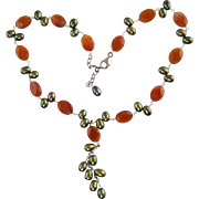 Carnelian & Green Freshwater Pearl Necklace Sterling Silver