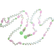 """49.5"""" Long Pink & Green Chalcedony & Freshwater Pearl Lariat Necklace Sterling Silver Artisan"""