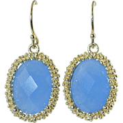 Faceted Blue Chalcedony & Sterling Silver Pierced Dangle Earrings