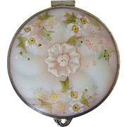 Antique Mt. Washington Crown Milano Glass Dresser Box Pairpoint Silver Plate Jewelry Casket