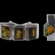 Beautiful Amber & Sterling Silver Hinged Cuff Bracelet w/Matching Pendant Enhancer