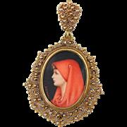 "Vintage 18k Etruscan Filigree ""St. Fabiola"" Miniature Portrait Pendant Italy Italian 7.6g"