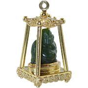 Vintage 18K Italian Etruscan Charm Carved Jade Buddha in Pagoda House Large 14.6 grams Gold Italy