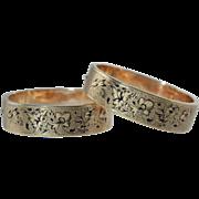 Pair Victorian 10K Gold Taille d'Epargne Enamel Bracelets c1870 Antique 48.8 Grams