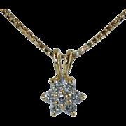 "Beautiful 14k Diamond Cluster Pendant .25ctw With 18"" 14k Box Chain 3.6 Grams"