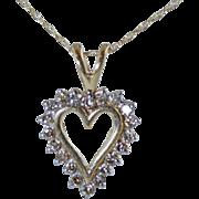 "10k Diamond .3ctw Heart Pendant on 18"" Fine 10k Gold Chain"