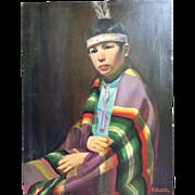 Frank Szasz (1926-1995) Native American Indian Boy Portrait by Kansas City Artist