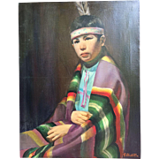 Frank Szasz (1926-1995) Native American Indian Boy Portrait by Kansas City Artist