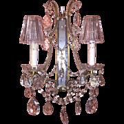 Pair Vintage Italian Venetian Beaded Crystal Sconces w/Mirror Backs & Original Crystal Glass Shades c1920s-30s