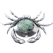 """Vintage Sterling Silver """"Crab"""" Pin/Pendant w/Green Jasper Germany 3.25"""" x 2"""" Large 26.1g"""
