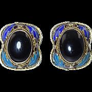 Vintage Chinese Silver Filigree Enamel & Black Onyx Pierced Earrings