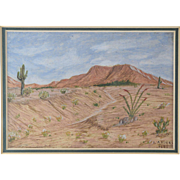 Emma Andres (American 1902-1987) Arizona Desert Miniature Oil or Gouache Landscape Painting