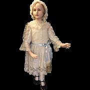 "Rare 44"" Vintage Austrian J. Gottwald Girl Child Mannequin, Flapper Molded Hair, Composition w/Glass Eyes!"