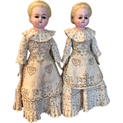 """Rare """"TWIN"""" Wax over Composition Dolls in Original Clothes, 15"""", Molded Blonde Hair, Glass Eyes, Wood Hands & Feet c1880 German"""