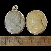 "2 Antique Carved Lava Cameos ""Dante & Ariosto"" Gold & GF As Is Victorian"