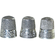 3 Antique Sterling Thimbles Lot, Simmons & Others Fancy Bands