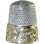 Antique Simmons Sterling Gold Wash Band Thimble Scroll Repousse Monogram