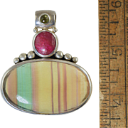 Banded Agate Green/Yellow, Ruby, Tourmaline Sterling Silver Pendant Enhancer