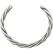 Large & Impressive Sterling 925 Silver Mexican Twisted Cable Collar Necklace 91 grams!
