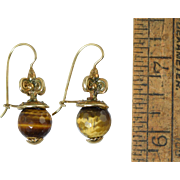 Marcello Fontana Italian Sterling Gold Wash Etruscan Earrings w/Tiger Eye Stones