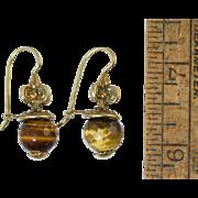 Marcello Fontana Italian Sterling Gold Wash Etruscan Earrings w/Tiger Eye Stones