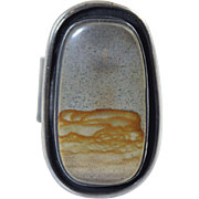 """Navajo Native American """"Picture Jasper"""" Large Sterling Ring Size 10"""