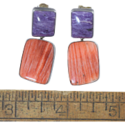 """Navajo Sterling Silver Spiny Oyster & Charoite Stone Pierced Earrings Signed """"S"""""""