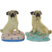 Vintage Basil Matthews Pair Pug Dogs On Pillows... so cute!