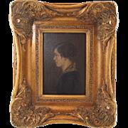 "German 1920 Oil on Board Portrait of Young Woman ""Meine Frau"" (My Wife) by Heinrich Maier"