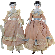 """Wonderful Pair """"Sister"""" German China Head Dolls 6"""" tall old clothing Antique"""
