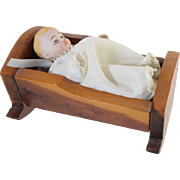 Antique German All Bisque Jointed Baby Doll in Vintage Wood Cradle