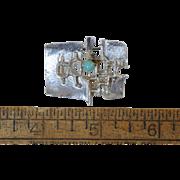 "Vintage ""Relo"" Sterling Modernist Pin w/Stone, Brutalist Austria 925 Silver Signed"