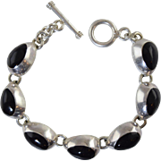 Vintage Mexican 925 Sterling Silver & Black Onyx Pear Link Bracelet w/Toggle Clasp, Heavy!