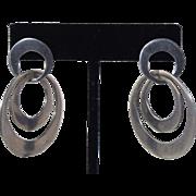 Vintage Modernist Sterling Silver & 14k gold Hoop Dangle Earrings