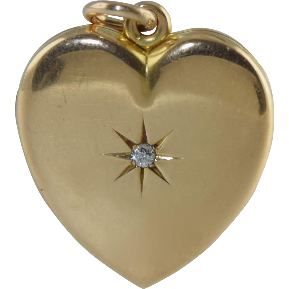 antique victorian 14k heart diamond locket pendant 6 9 grams gold from greatexpectations on ruby