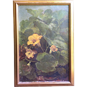 Benjamin Champney (American 1817-1907) Still Life Squash Blossoms w/Bumble Bees Oil on Canvas