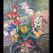 Katrina SD Buell (Canadian flourished 1890-1920s) 1929 Floral Impressionist Still Life w/Gladioli
