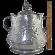 1899 Kayserzinn Pewter Presentation Punch Bowl Art Nouveau NY Hotel Champlain Golf Trophy**OD Seavey & TF Conway