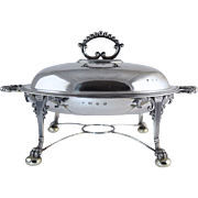 George III Style 1896 English Sterling Silver Breakfast Chafing Dish w/Mazarine Insert 2010 Grams... 64.6 Troy Oz