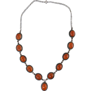 Vintage Sterling Silver & Carnelian Stone Necklace w/Drop 41.3g