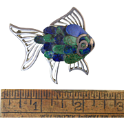 "Vintage 2"" Mexican Sterling Silver & Lapis Fish Pin Brooch 29.2g"
