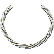 Large Mexican Sterling Silver Twisted Cable Collar Necklace 91g