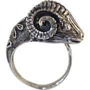 "Vintage Ancient Roman Style Etruscan Ram Head 800 Silver Ring size 5 ""Aries"""