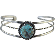 Vintage Navajo Turquoise & Sterling Silver Cuff Bracelet