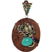 "Highly Unusual Custom Made Sterling Silver Gilt Diamond & Gemstone Pendant w/Love Birds 3.5"" Vintage"