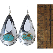 "Vintage Ronnie Hurley Navajo Turquoise Sterling Silver Dangle Earrings 3""!"
